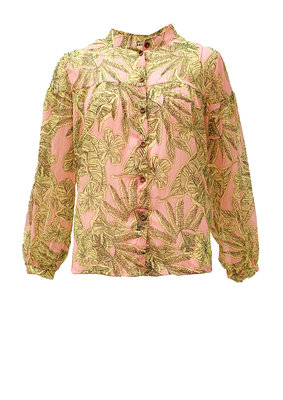 Blouse in een all over print met lurex streepje